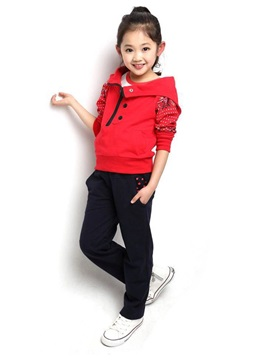 Buttons Zip Long Sleeve Girl Suits