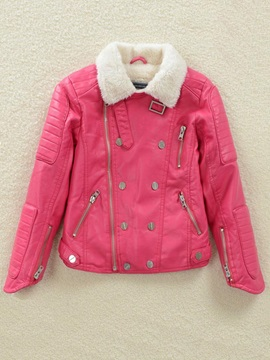 Fur Collar Long Sleeve Zip Girl's Jacket