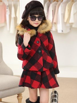 Woolen Plaid Fur Collar Girl's Suits