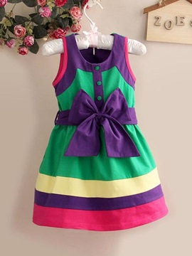 Contrast Color Bow Knot Sleeveless Round Neck Girl's Dress