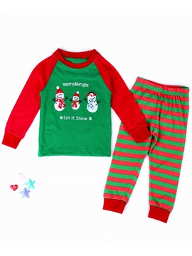 Striped Cartoon Long Sleeve Christmas Girl's Suits