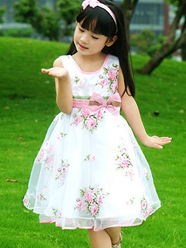 Floral Print Bowknot Decorated Girl's Dress