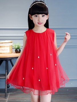 Beads Decoration Girl's Day Dress