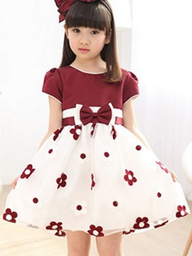 Flower Print Bowknot Girl's Dress