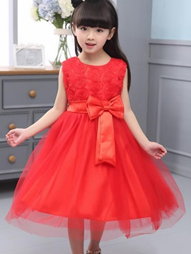 Solid Color Bowknot Decorated Girl's Dress