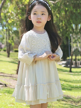 Pure Color 3/4 Sleeve Pleated Girl's Dress