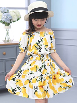 Floral Printed Slash Collar Girl's Dress