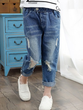 Chic Frayed Destroy Girl's Jean