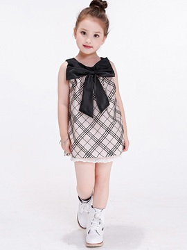 Chic Plaid Bowknot Girl's Dress