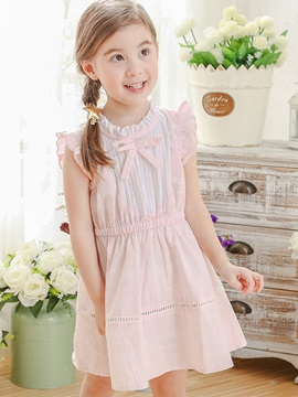 Pure Falbala Bow Tie Neck Patchwork Pleated Girl's Dress