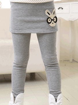 Plain Cartoon Decorated Girl's Culotte Leggings