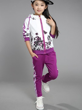 Stylish Sport Plant Printed Color Block Girls' Outfits