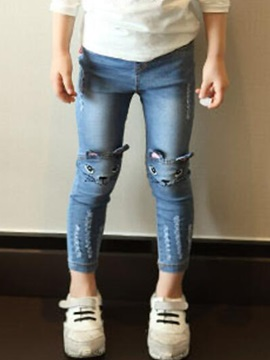 Fashion Frayed Destroy Denim Elastic Girls Pants