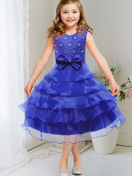 Cute Rhinestones Paste Layered Dress Bow Belt Girls' Dress