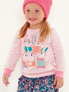 Casual Cartoon Appliques Solid Color Tee Girls' T-Shirt