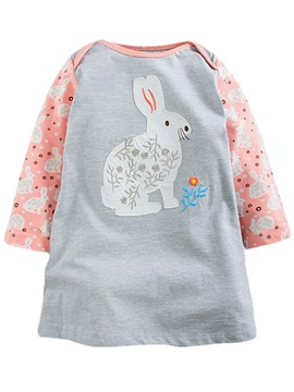 Cute Print Patchwork Animal Fabric Appliques Girls' Dresse