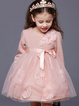 Sweet Floral Appliques Lace-Up Mesh Patchwork Girls' Dress