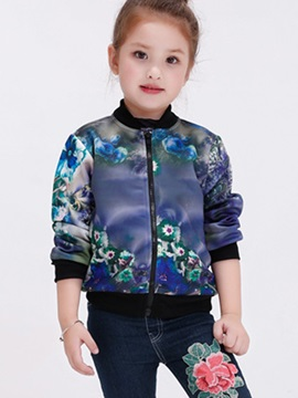 Fashion Abstract Printing Cardigan Zipper Girls' Outerwear
