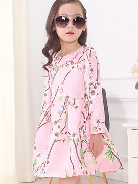 Stylish Peach Blossom Printed Pleated Girls' Dress