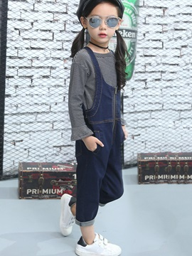 Fashion Suspender Zipper Strips Flare Sleeve Girls' Outfit