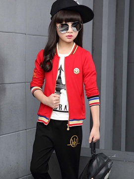 Casual Strips Thread Patch Printing Two-Piece Girls' Outfit