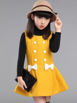 Plain Bow Sleeveless Girl's Dress
