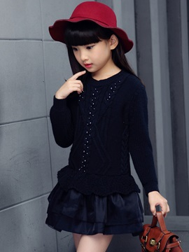 Layered Bead Sweater Girl's Dress