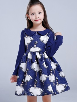 Print Doll Collar Princess Girl's Dress