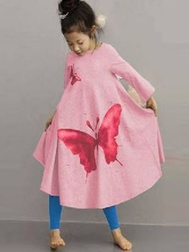 Stylish Butterfly Print Trumpet Girls' Dress