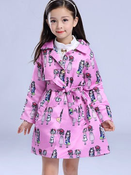 Fashion Lapel Cartoon Printed Belt Girls' Outwear