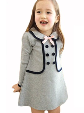 Double-Layer Button A-Line Girls Dress
