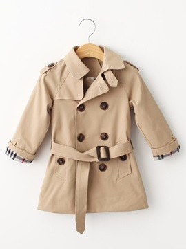 Chic Double-Breasted Belt-Tied Kid's Trench Coat