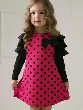 Stylish Polka Dot Designed Petal Sleeve Girl's Dress