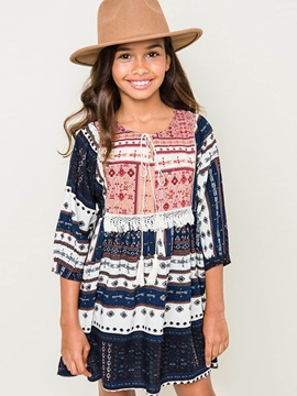 Ethnic Style Tassel Accent Big Girl's Dress