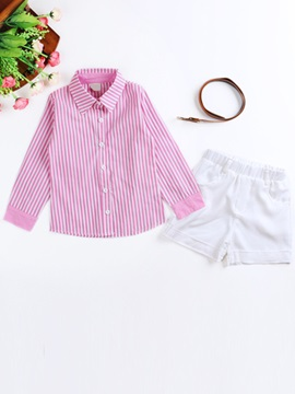 Pink Stripe Shirt & White Shorts & Belt Three-piece Sets
