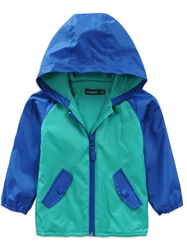 Contrast Color Long Sleeve Zip Hat Boy's Coat
