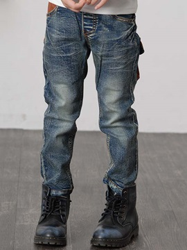 Causal Denim Stitching Boy`s Pant
