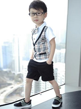 Plaid Short Shirt Short Pants Boy's Suits