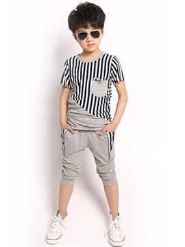 Striped Pocket Zipper&Patchwork Pleated Boys' Outfits