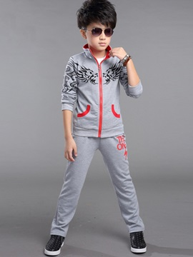Simple Printing Zip-Front Boy's 2-Piece Outfit