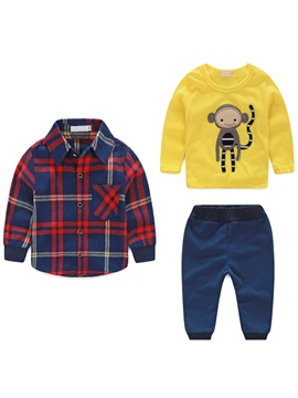 Casual Plaid Shirt&Monkey Appliques Thread Foot Beam Three-Piece Boys' Outfit