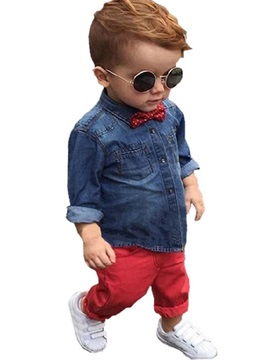 Chic Denim Worn Bowknot Appliques Color Block Boys' Outfit