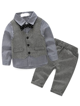 England Vest Bow Patchwork Lattice Boys' Outfit
