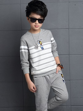 Sport Cartoon Embroidery Strip Two-Piece Boys' Outfit