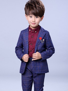 Chic Plaid One-Button Boy's 2-Piece Outfit