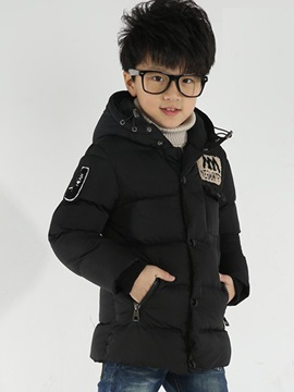 Solid Color Embroidery Thickening Boys Coat