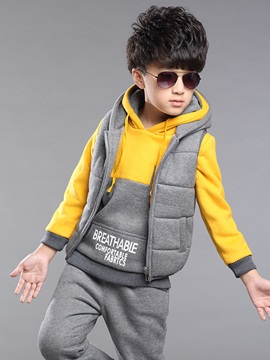 Sport Color Block Vest Hoodie Pants 3-Pcs Boys Outfit