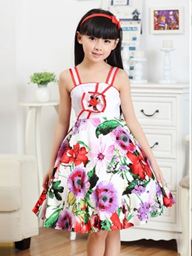 Strappy Floral Print Girl's Dress