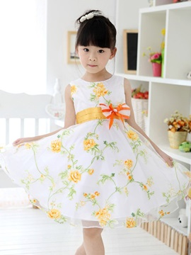 Yellow Floral Print Bowknot Decorated Girl's Dress