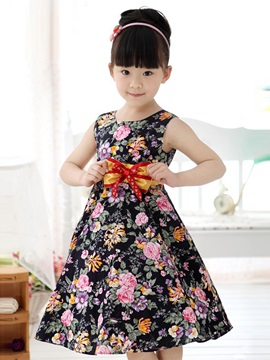 Black Bowknot Decorated Floral Print Girl's Dress